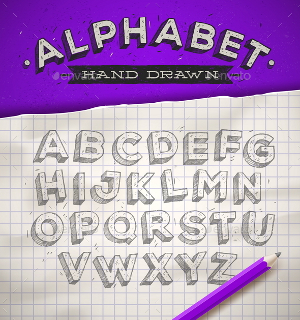 Hand Drawn Sketch Font on a School Notebook Paper - Vectors