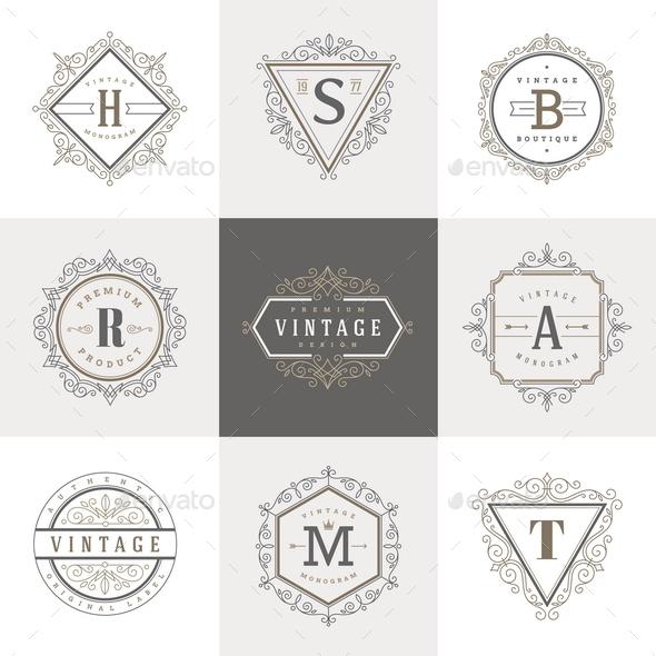 Monogram Label Template Set - Decorative Vectors