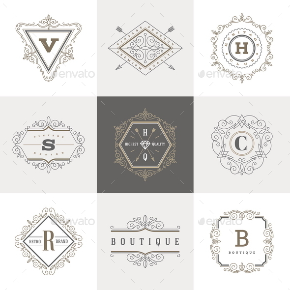 Monogram Label Template Set - Decorative Vectors
