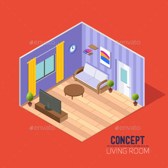 Concepts Living Room in Perspective - Man-made Objects Objects
