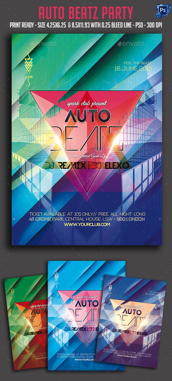 Auto Beatz Party Flyer - Clubs & Parties Events