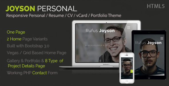 Joyson Personal - Resume / CV Vcard Portfolio HTML - Virtual Business Card Personal