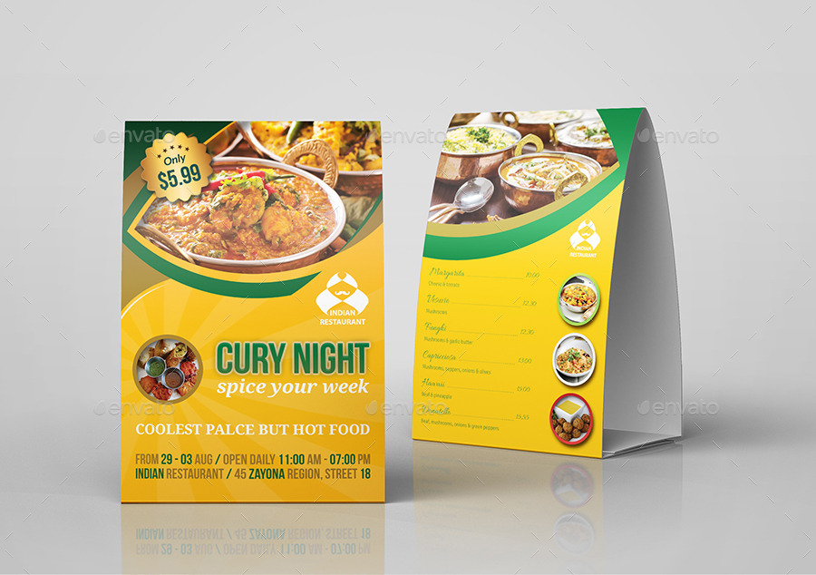 Indian Restaurant Table Tent Template : table tent design template - memphite.com