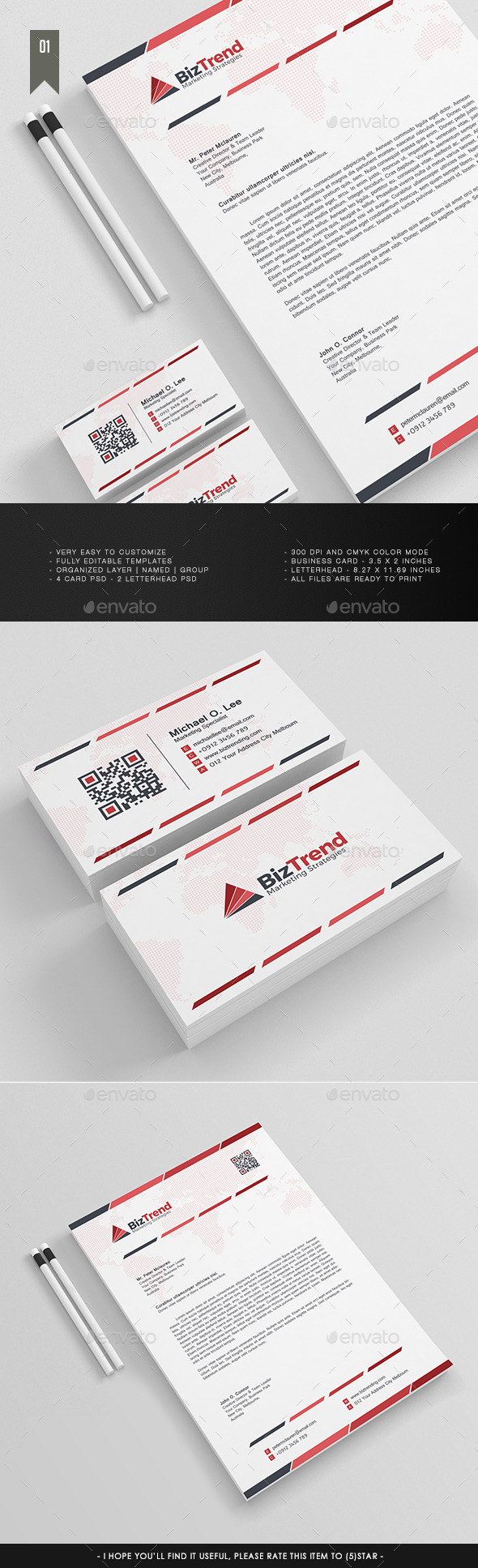 Letterhead & Business Card V.1 - Stationery Print Templates