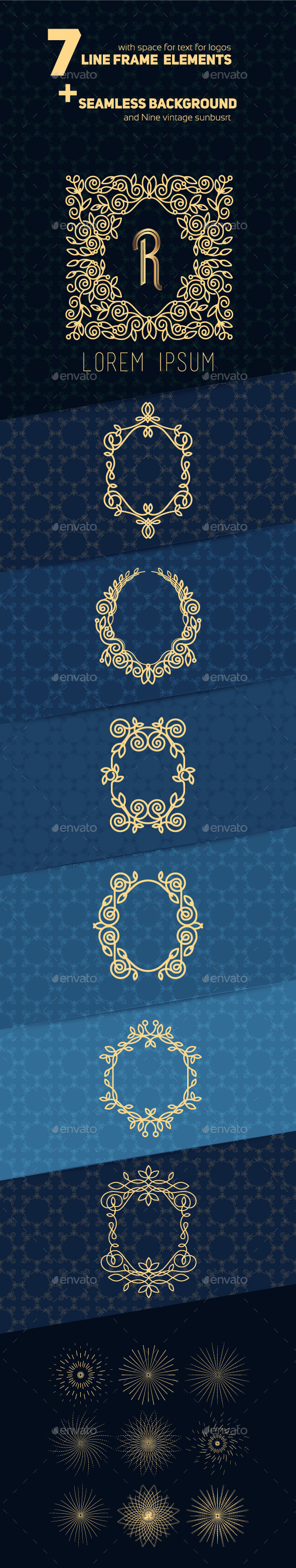 Line Frame Design Elements and Sunbusrt - Decorative Vectors