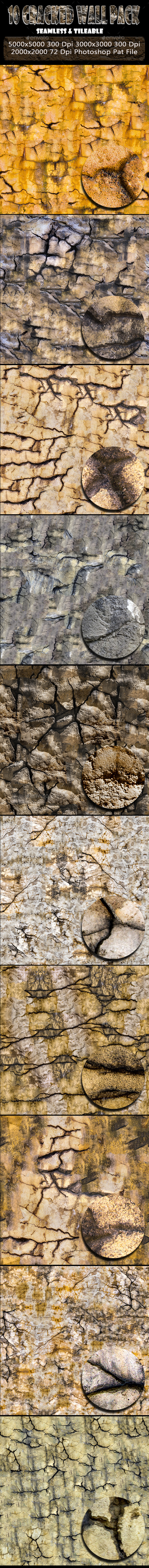 10 Cracked Wall Background Texture Pack - Abstract Backgrounds