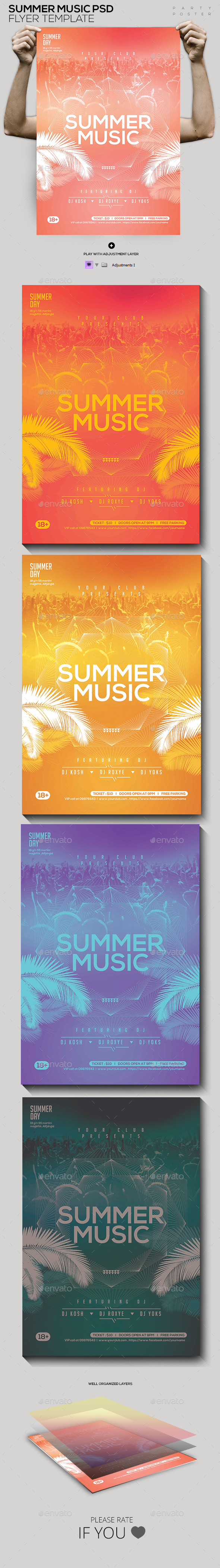 Summer Music Party Flyer - Clubs & Parties Events
