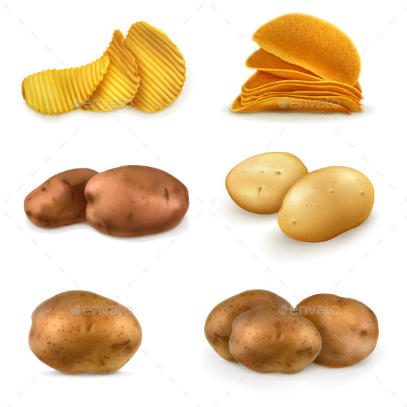 Potatoes and Chips Illustration - Food Objects