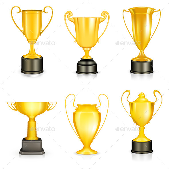 Gold Trophies Icons - Man-made Objects Objects