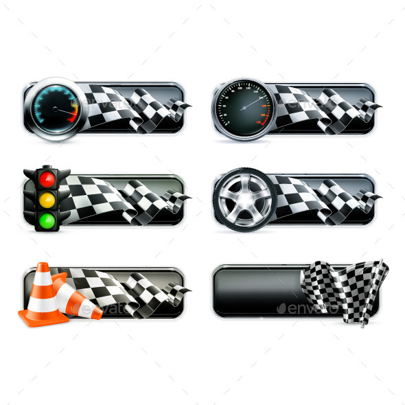 Racing Banners Icons - Backgrounds Decorative