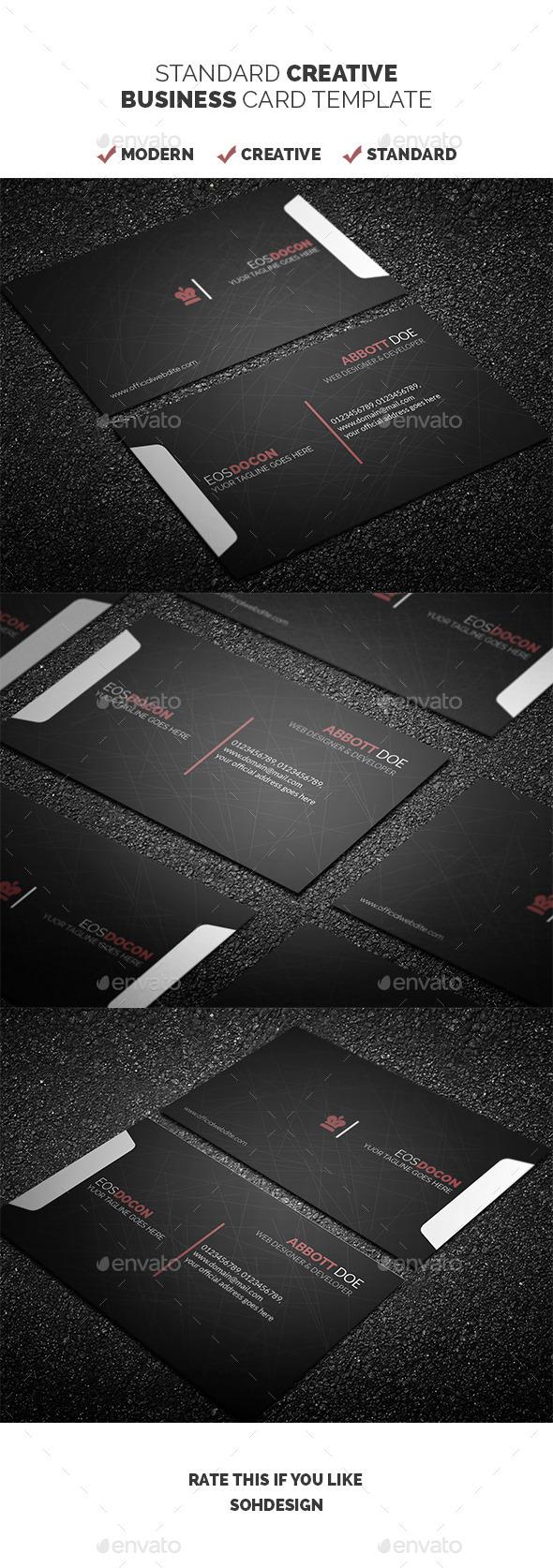 Standard Creative Business Card Template - Creative Business Cards