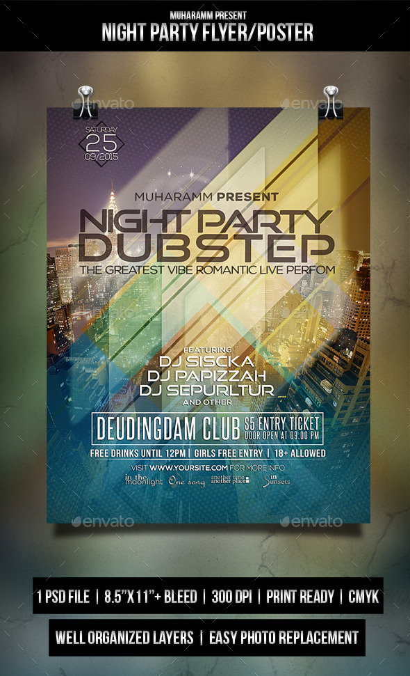 Night Part Flyer / Poster - Clubs & Parties Events