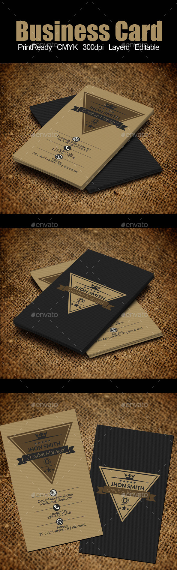 vertical Retro Vintage Business Card Template - Corporate Business Cards