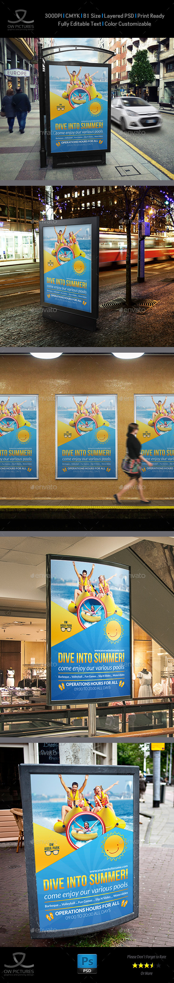 Aqua Park Poster Template - Signage Print Templates