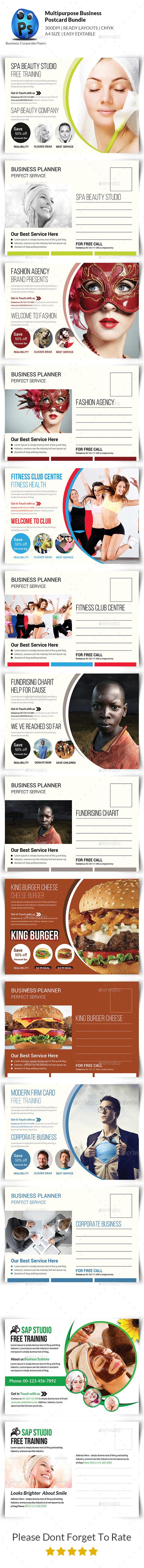Multipurpose Business Postcard Bundle - Cards & Invites Print Templates