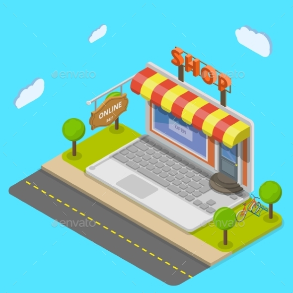 Online Shop Flat Isometric Concept - Retail Commercial / Shopping