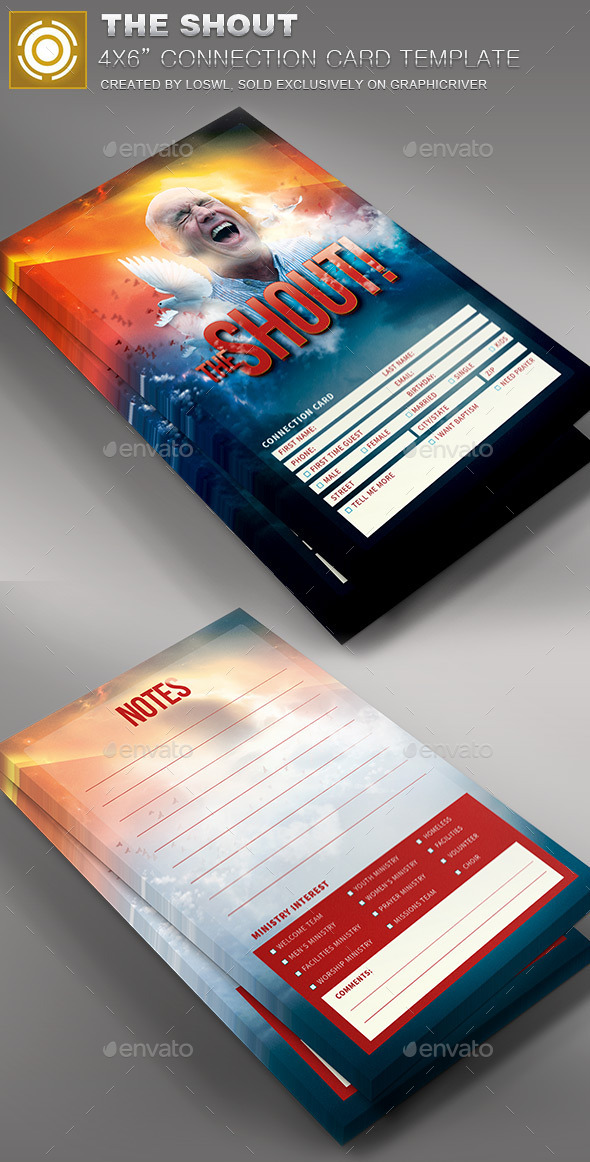 The Shout Connection Card Template - Cards & Invites Print Templates