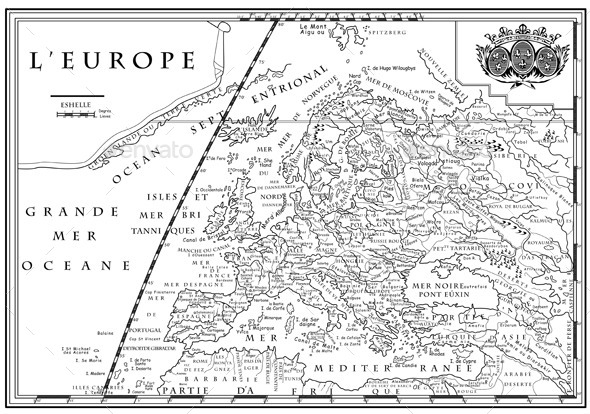 Old European Map - Travel Conceptual