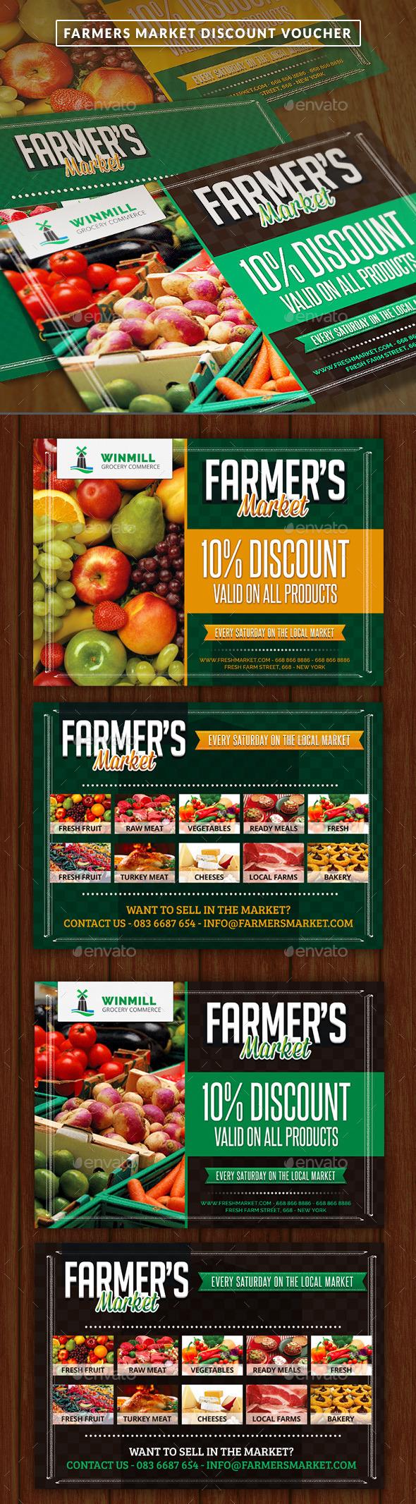 Farmer's Market Commerce Discount Voucher - Cards & Invites Print Templates