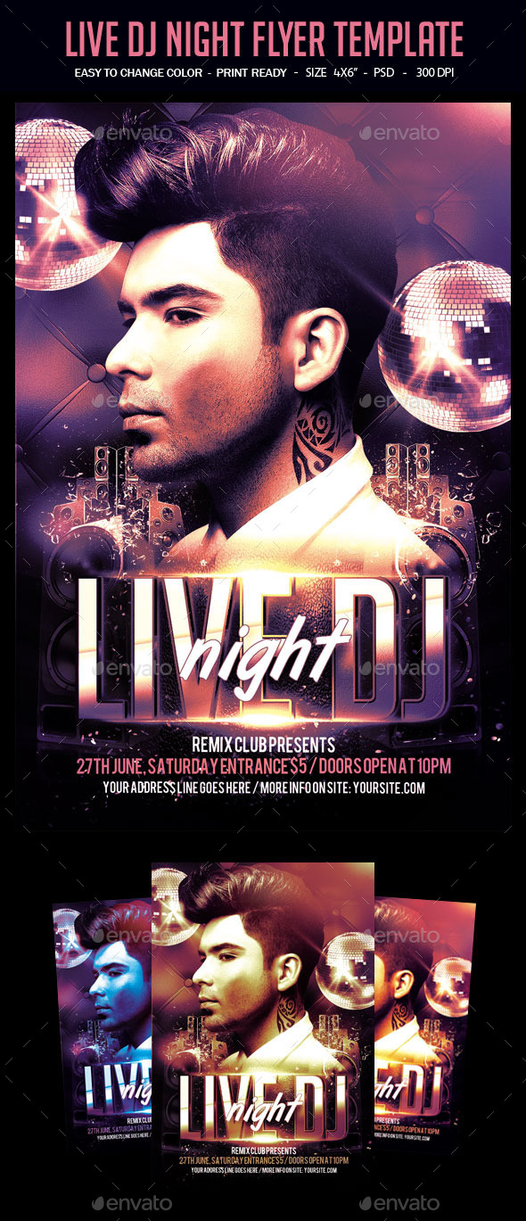Live Dj Night Flyer Template - Clubs & Parties Events