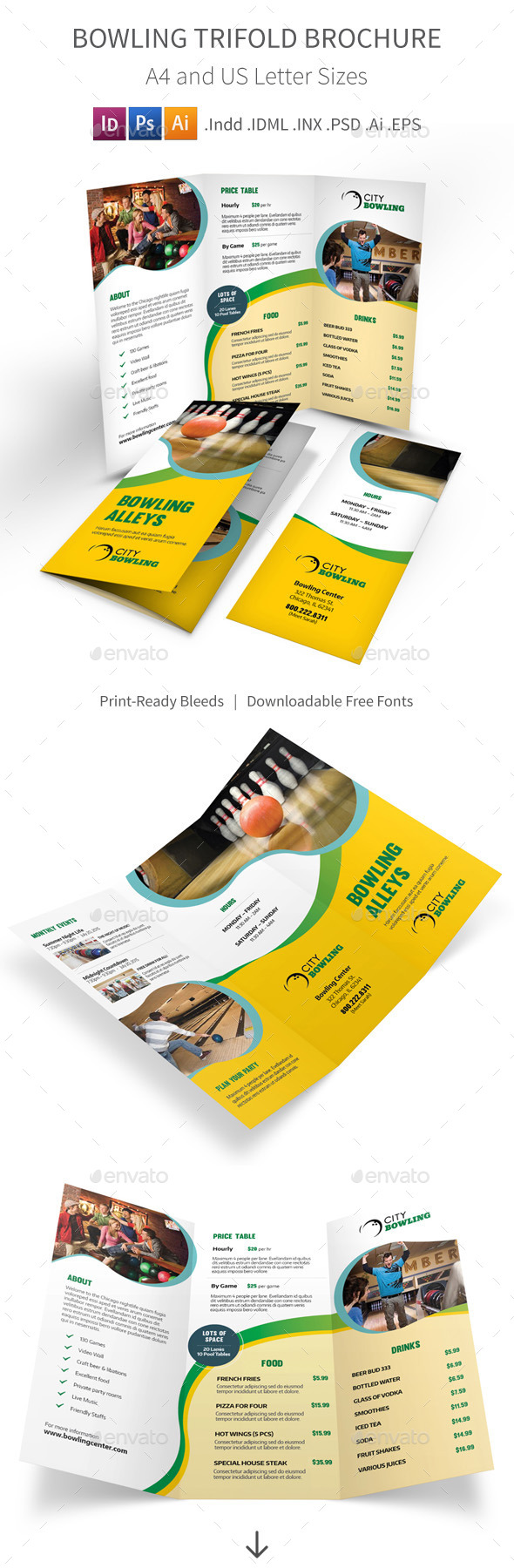 Bowling Trifold Brochure - Informational Brochures