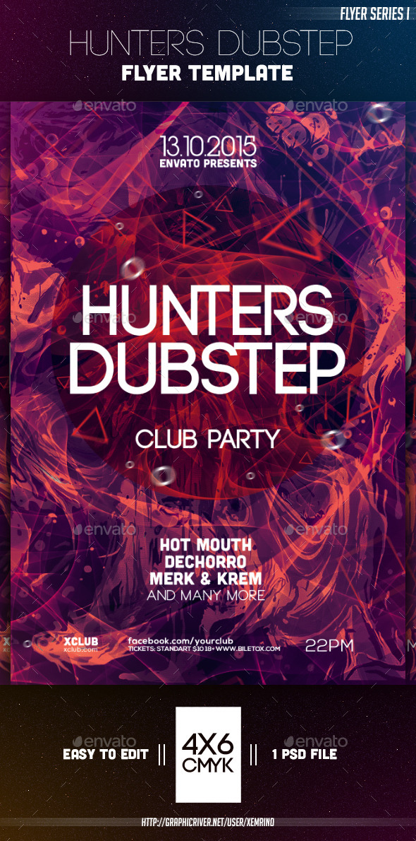 Hunters Dubstep Flyer Template - Clubs & Parties Events