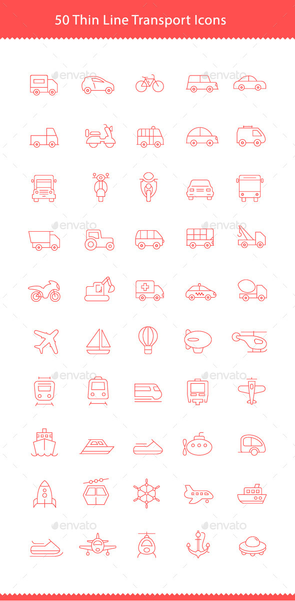 50 Thin Line Stroke Transport Icons - Objects Icons