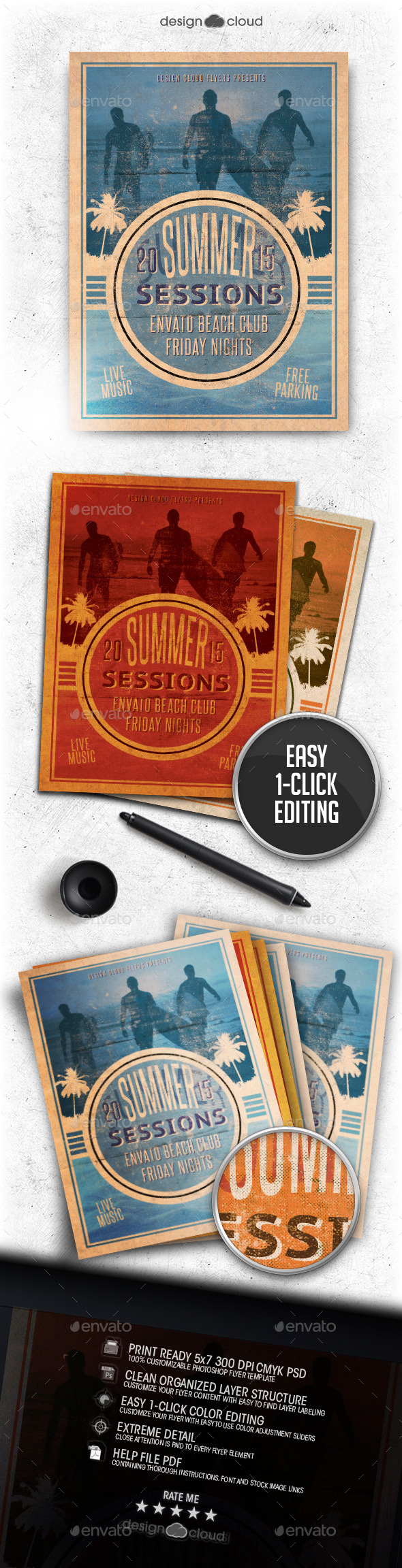 Retro Summer Sessions Event Flyer Template Vol. 1 - Events Flyers