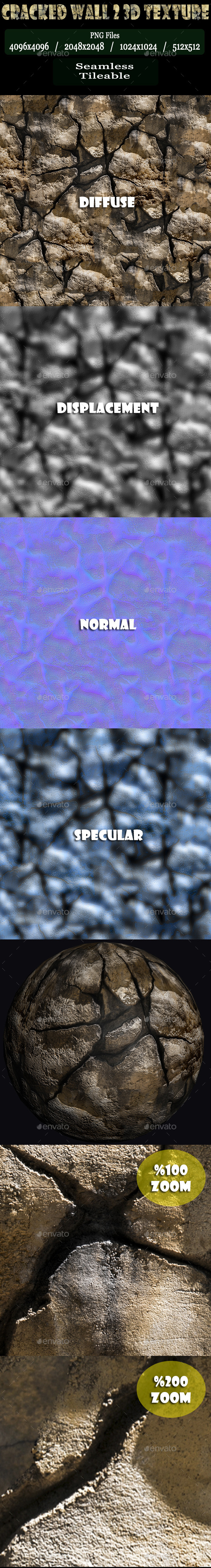 Cracked Wall 2 3D Texture - 3DOcean Item for Sale