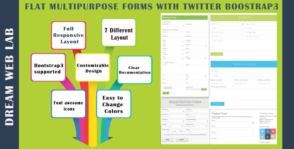 Flat Multipurpose Forms With Twitter Bootstrap3 - CodeCanyon Item for Sale
