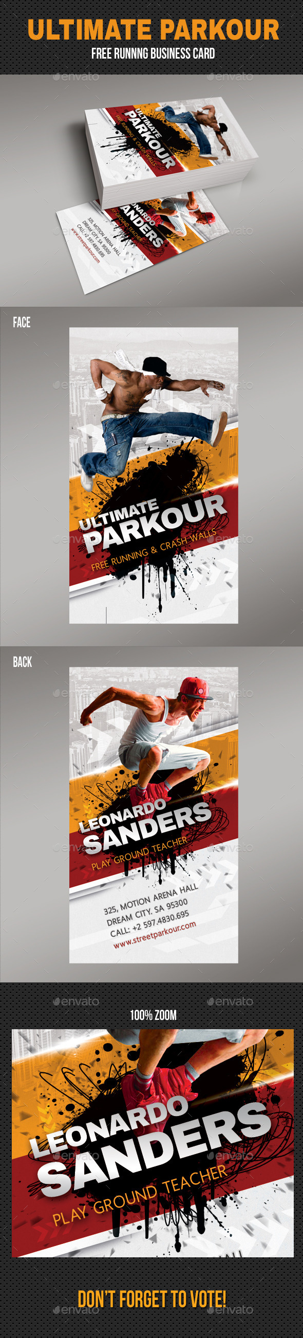 Ultimate Parkour Free Running Business Card - Creative Business Cards