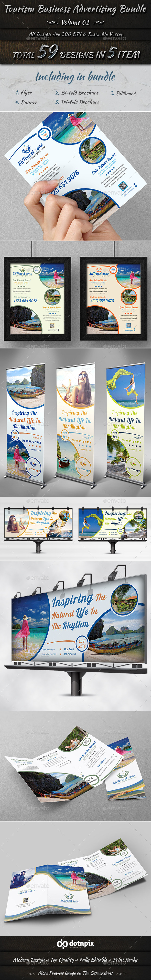 Tourism Business Advertising Bundle | Volume 1 - Stationery Print Templates