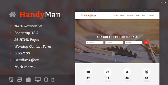 Handyman – Job Board HTML Template