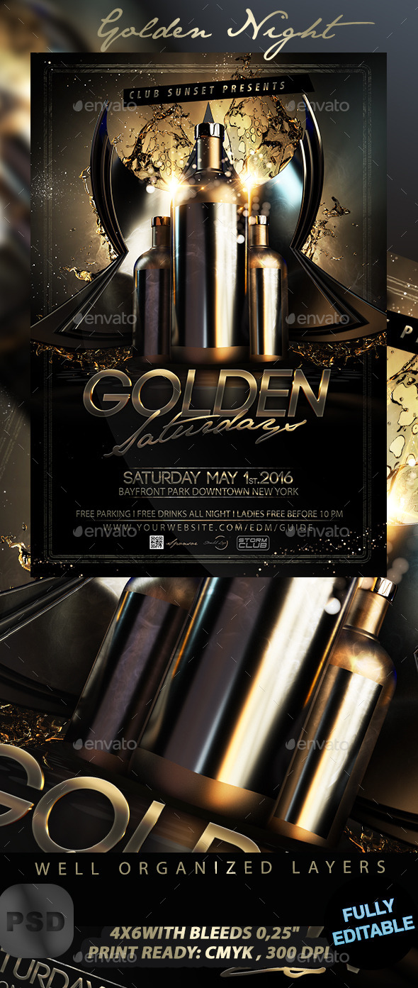 Golden Night Flyer - Events Flyers