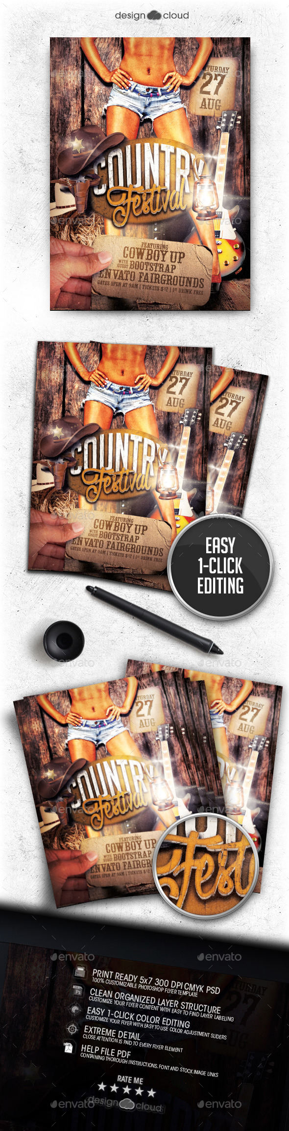 Country Festival Flyer Poster Template - Events Flyers