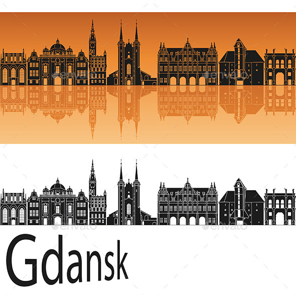 Gdansk Skyline in Orange