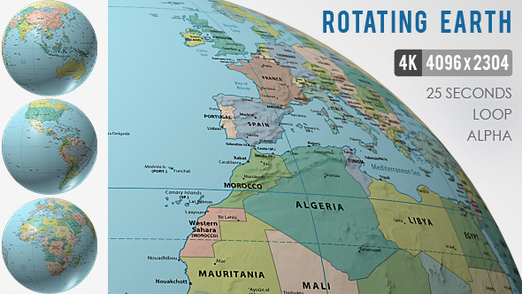 Rotating Globe World Political Map by VF | VideoHive