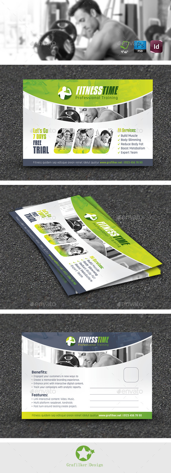 Fitness Salon Postcard Templates - Cards & Invites Print Templates