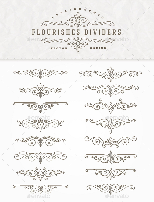 Set of Elegant Ornament Dividers - Flourishes / Swirls Decorative