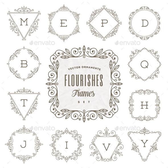 Set of Monogram Logo Template - Decorative Vectors