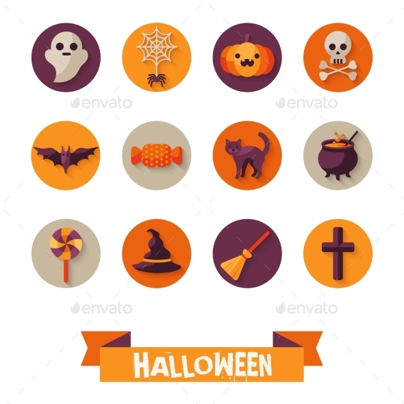 Set Of Halloween Characters On Circles  - Halloween Seasons/Holidays