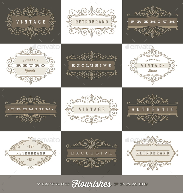 Set of Vintage Logo Flourishes Frames - Decorative Symbols Decorative