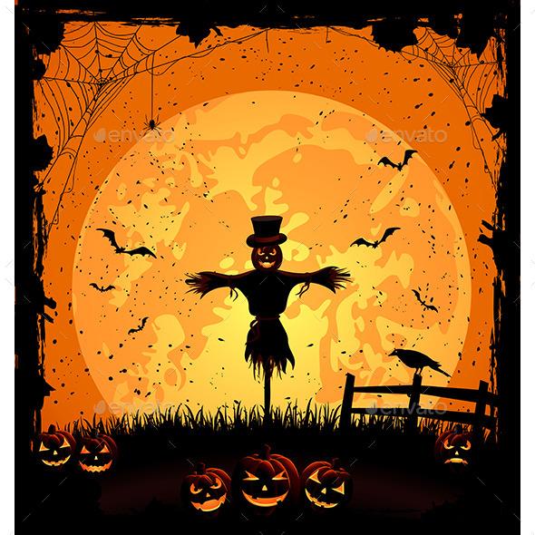 Halloween Background with Scarecrow - Halloween Seasons/Holidays