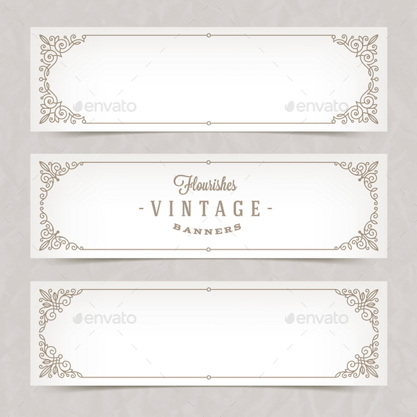 Paper Banners with Flourishes Frames - Borders Decorative