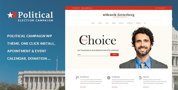 Candidate – Political / Non-profit WordPress Theme