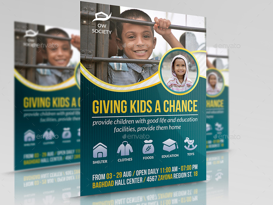 kids charity flyer template by owpictures