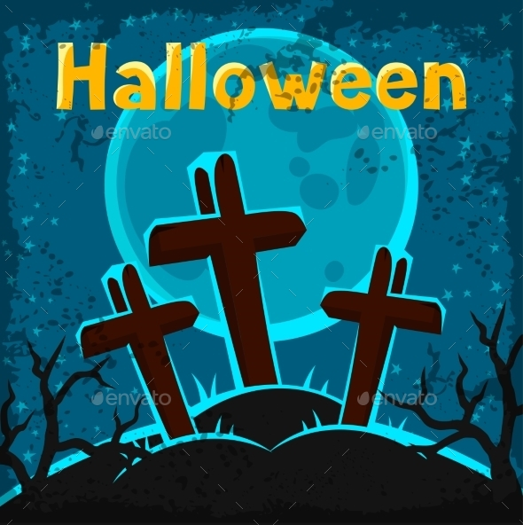 Happy Halloween Greeting Card with Cemetery - Halloween Seasons/Holidays