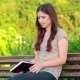 Attractive Girl With a Diary Sitting On The Bench - VideoHive Item for Sale