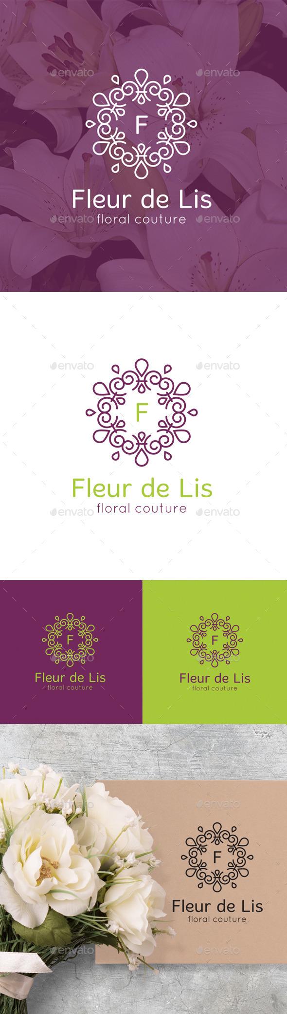 Fleur de Lis Monogram logo - Nature Logo Templates