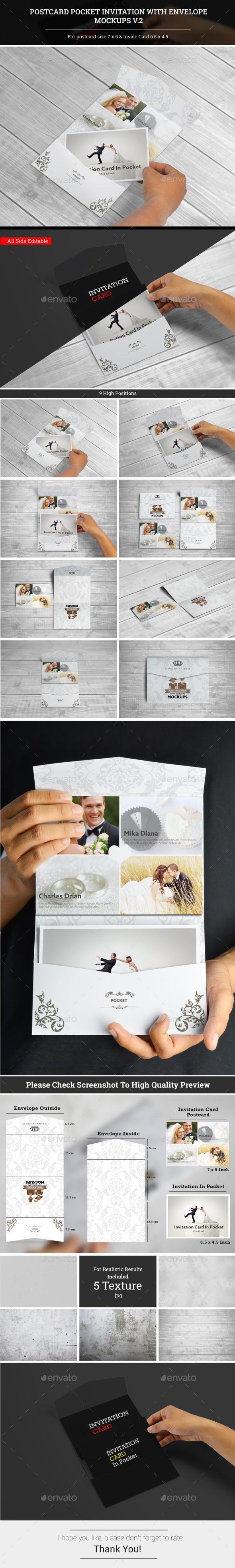 Postcard Pocket Invite With Envelope Mockups V.2 - Miscellaneous Print
